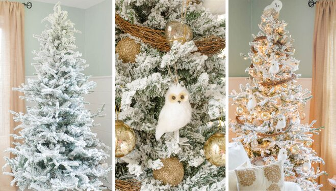 Decorating A Faux Flocked Christmas Tree