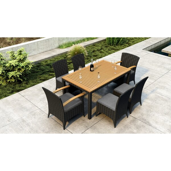 Aisha 7 Piece Dining Set with Sunbrella Cushion by Brayden Studio