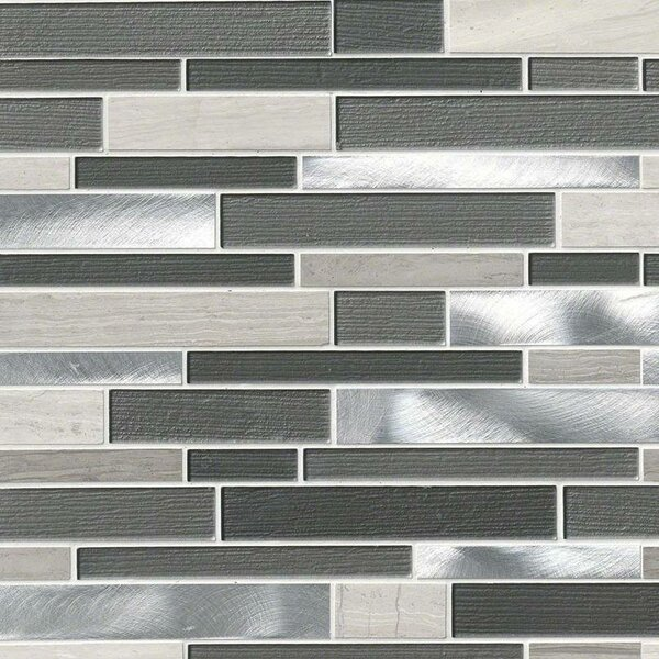 Urban Loft Interlocking Pattern Random Sized Glass/Stone/Metal Tile in Gray by MSI