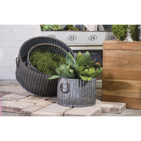 Beaumaris Galvanized 3-Piece Metal Pot Planter Set by Gracie Oaks