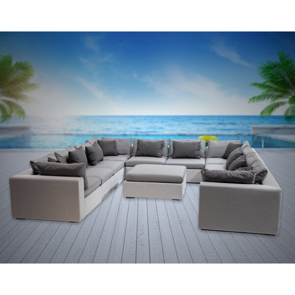 Malani 10 Piece Sunbrella Sectional Seating Group with Sunbrella Cushions by Brayden Studio