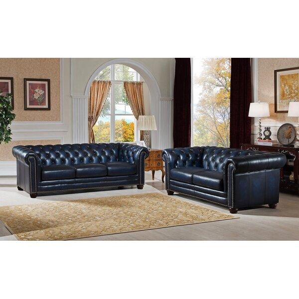 Amax Nebraska 2 Piece Leather Living Room Set