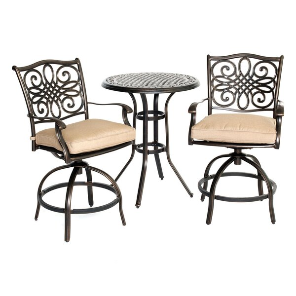 Carleton 3 Piece Natural Oat Bistro Set with Cushions by Fleur De Lis Living