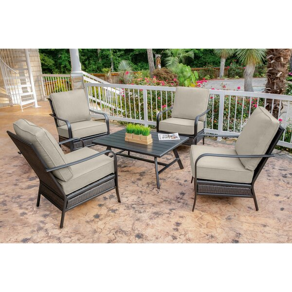 Becerra 5-Piece Commercial-Grade Patio Set with 4 Aluminum/Woven Club Chairs and Slat-Top Coffee Table by Charlton Home