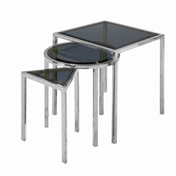 Almaraz Nesting Table Smoked Glass by Everly Quinn