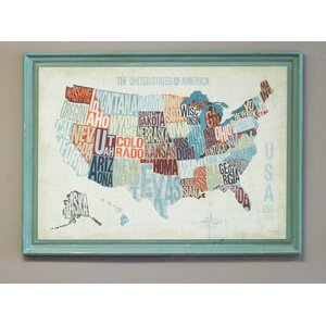 USA Word Map Framed Graphic Art by Byron Anthony Home