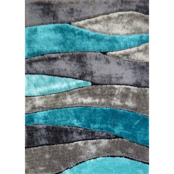 Owings Shaggy Hand-Tufted Gray/Blue Area Rug by Orren Ellis