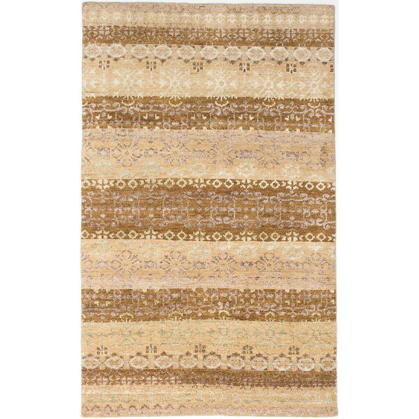 Houston Hand-Knotted Beige/Brown Area Rug by World Menagerie