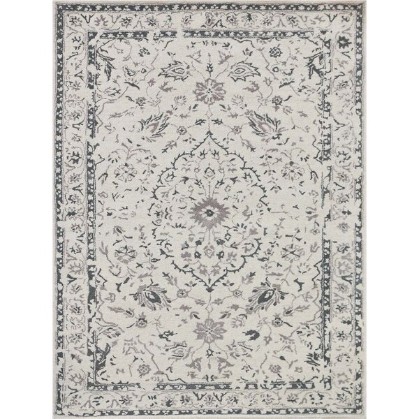 Hadassah Hand-Tufted White and Silver Area Rug by Ophelia & Co.