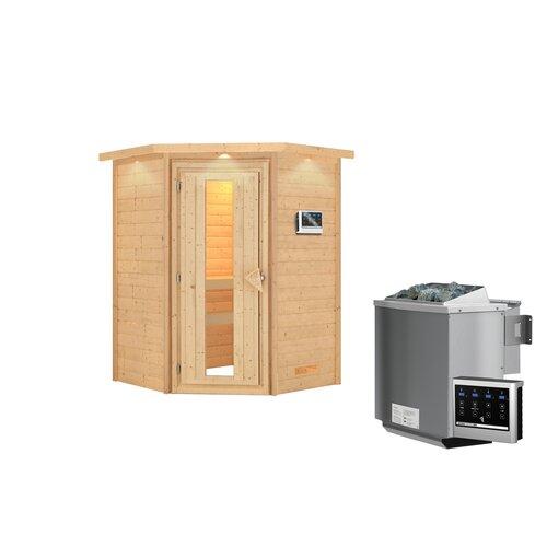 Massivholzsauna Franka Woodfeeling Ofen: Bio-Ofen mit externer Steuerung| Door Type: Satinierte Ganzglastür | Bad > Sauna & Zubehör > Saunen | Woodfeeling