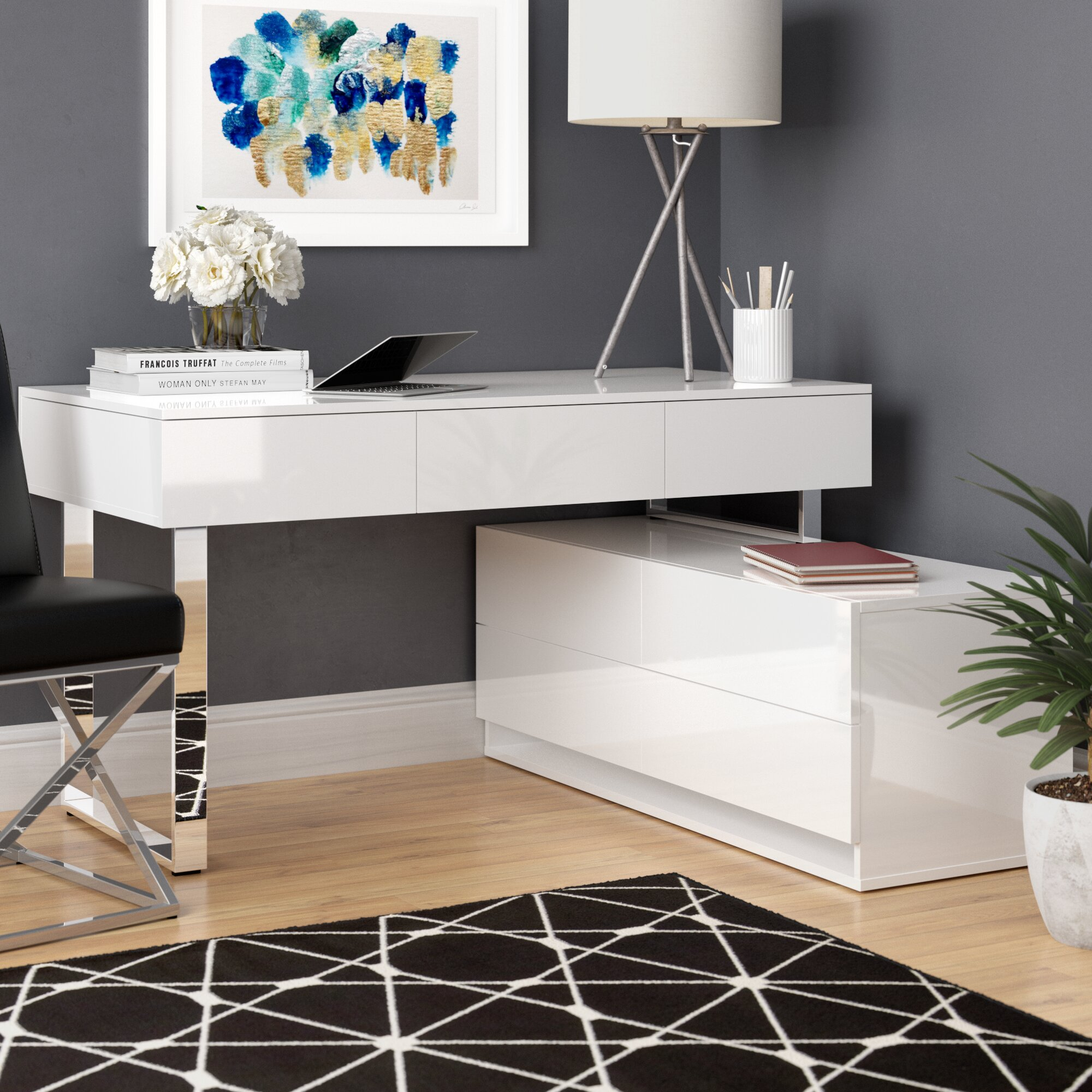 Claysville L-Shape Desk with Hutch