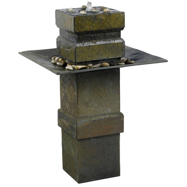 Wildon Home ® Natural Stone Cubist Slate Outdoor Floor Fountain U0026 Reviews |  Wayfair