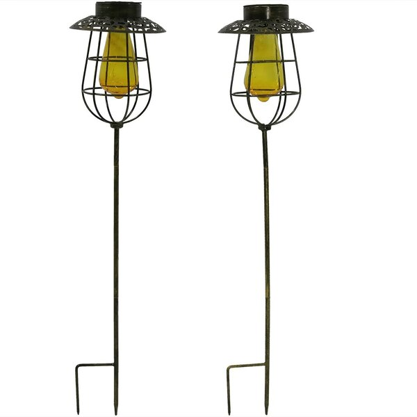 Caged Solar Stake 2 Light LED Pathway Light (Set of 2) by Wildon Home ®