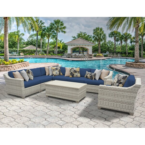 Ansonia 8 Piece Rattan Sectional Seating Group with Cushions by Rosecliff Heights