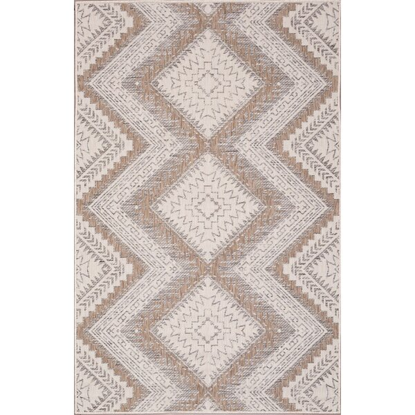 Stenberg Ivory/Sand Indoor/Outdoor Area Rug by Wrought Studio