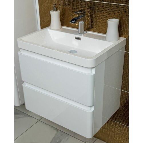 Bridge 600mm Wall-Mounted Vanity Unit Belfry Bathroom Base Finish: Gloss White