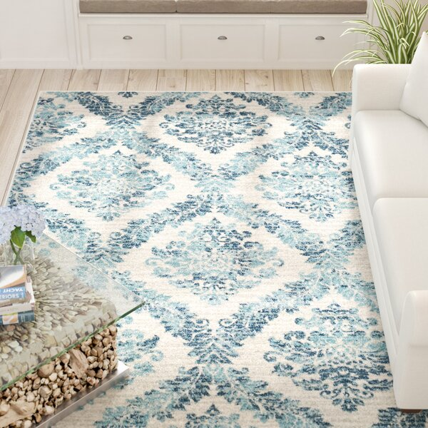 Delana Traditional Faded Oriental Dark Blue/Teal Area Rug by Beachcrest Home