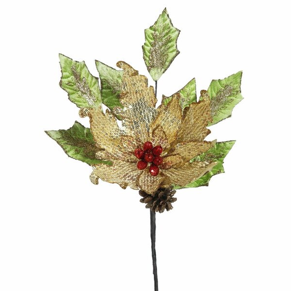 Sequin Poinsettia Artificial Christmas Stem (Set of 4) by The Holiday Aisle