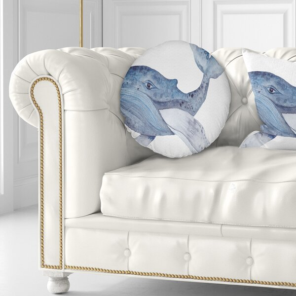 Animal Large Watercolor Whale Throw Pillow by East Urban Home