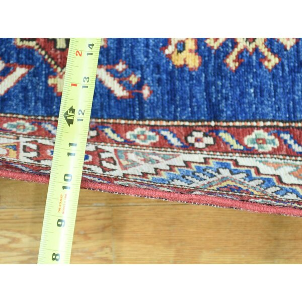 One-of-a-Kind Clemens Kazak Tribal Design Handwoven Blue Wool Area Rug by Isabelline