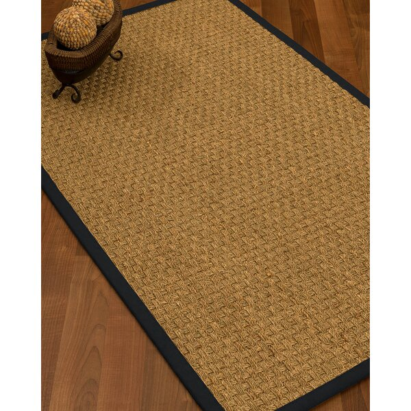 Antiqua Border Hand-Woven Beige/Midnight Blue Area Rug by Longshore Tides