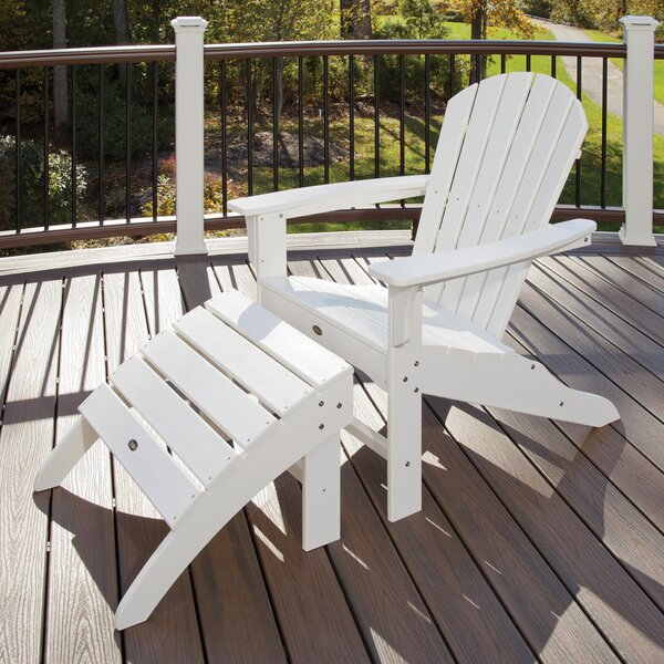 Trex Outdoor Plastic Folding Adirondack Chair with Ottoman by Trex Outdoor Trex Outdoor
