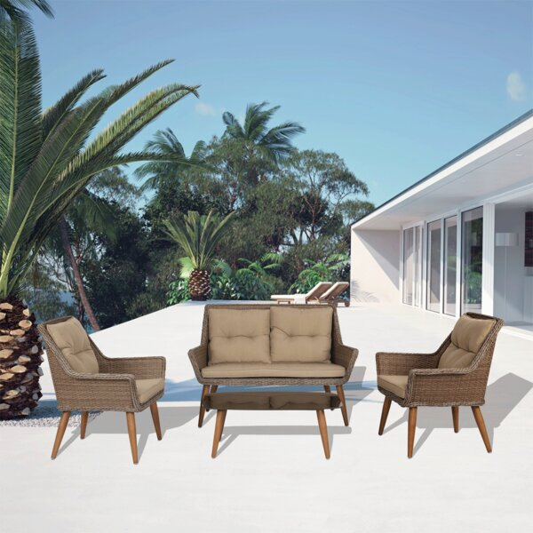 Marylou 4 Piece Rattan Sofa Seating Group with Cushions by Ebern Designs Ebern Designs
