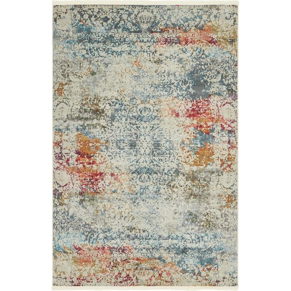 Lonerock Cream/Blue Area Rug by Bungalow Rose