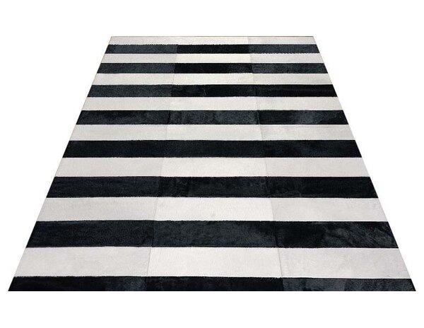 Kielek Lines Hand-Woven Cowhide Black/White Area Rug by Orren Ellis