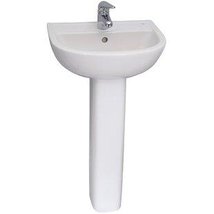 Vitreous China Circular Pedestal Bathroom Sink with Overflow Barclay