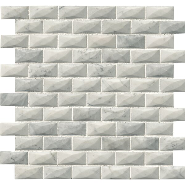 Polished 3D 1 x 2 Marble Mosaic Tile in White by MSI