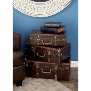 Price comparison 3 Piece Wood and Leather Trunk Set By Cole & Grey