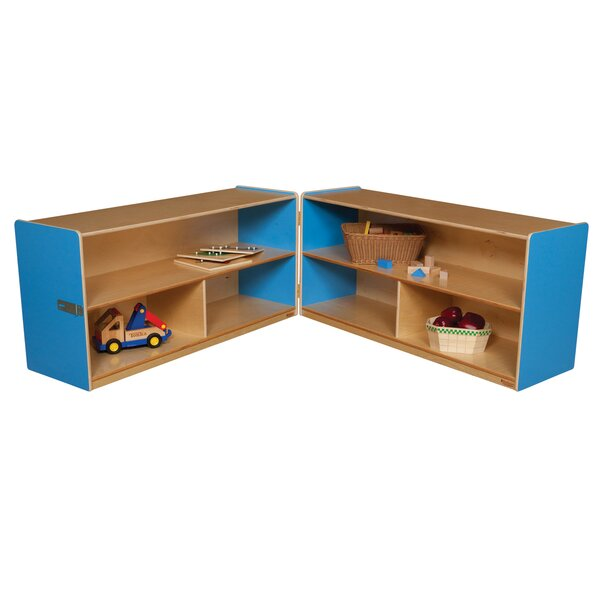 Folding 6 Compartment Shelving Unit with Casters by Wood Designs