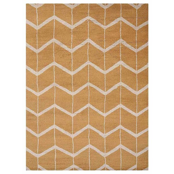 Johns Hand-Knotted Wool Gold/Beige Area Rug by Latitude Run