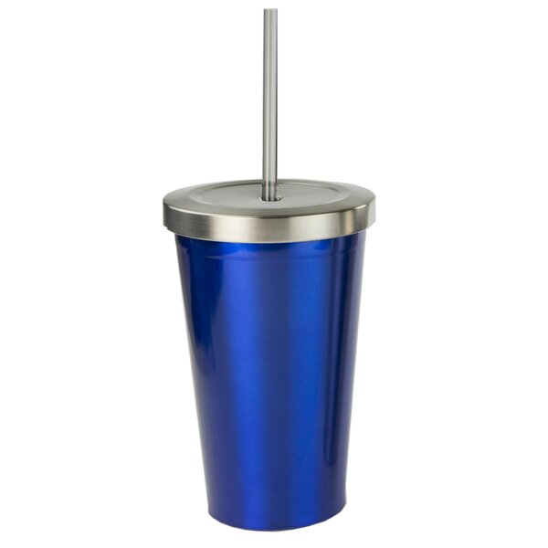 Stainless Steel 16 oz. Insulated Tumbler with Straw by Symple Stuff