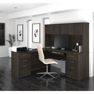 Karyn L-Shape Computer Desk with Hutch