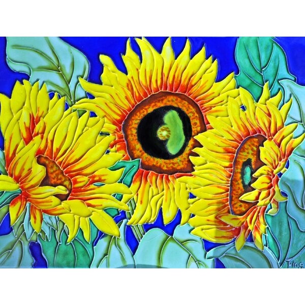 3 Sunflowers Tile Wall Decor by Continental Art Center