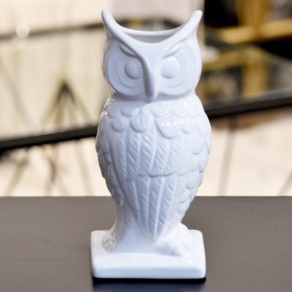 Ceramic Owl Vase LG Gloss White by Urban Trends