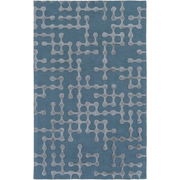 Serpentis Hand-Hooked Bright Blue/Sage Area Rug by Wrought Studio