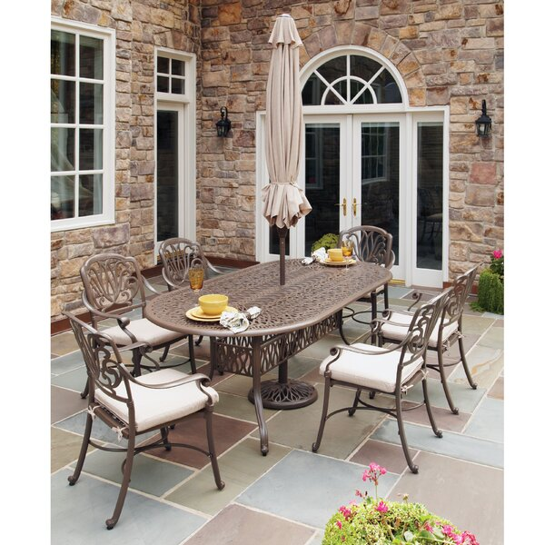 Dyllan 7 Piece Dining Set with Umbrella by One Allium Way