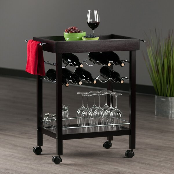 Maryln 10 Bottle Wine Bar Cart by Red Barrel Studio Red Barrel Studio