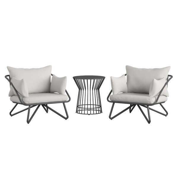 Teddi Outdoor 3 Piece Seating Group with Cushions by Novogratz Novogratz