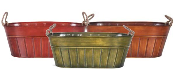 Innsbrook Oval Metal Pot Planter by August Grove