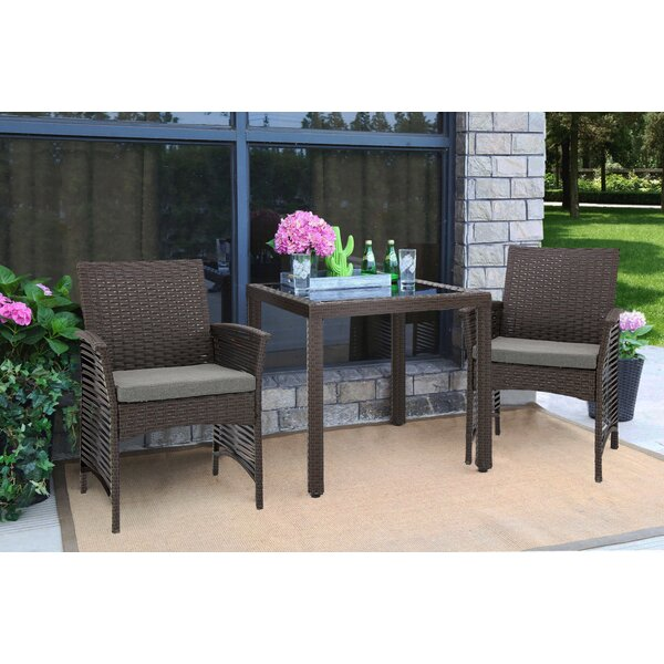 Desirae Backyard Steel Frame 3 Piece Dining Set with Cushions by Bay Isle Home