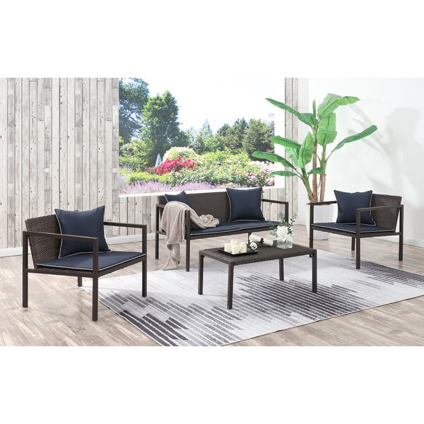 Mikhail 4 Piece Sofa Set with Cushions by George Oliver