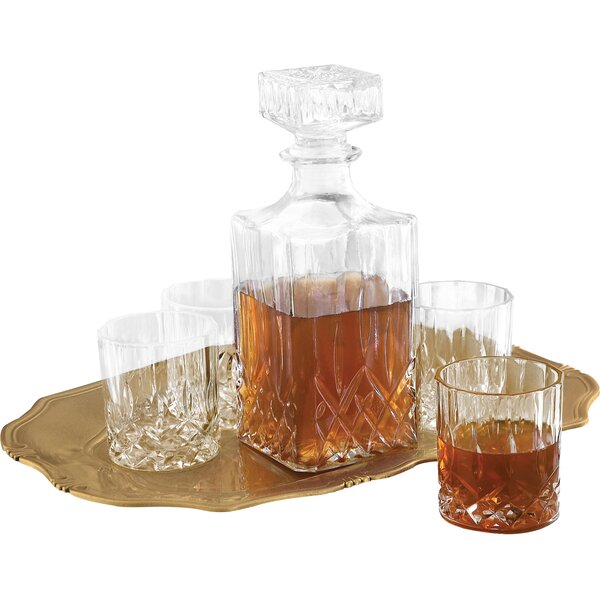 Denmark Fitz and Floyd 6 Piece Decanter, Tray and Glass Whiskey Set by Fitz and Floyd