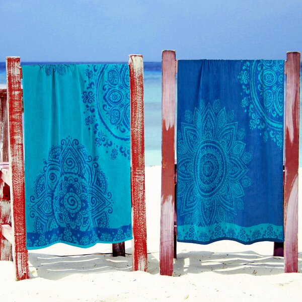 Makenna Floral Mandala 2 Piece Egyption Quality Cotton Beach Towel Set by Breakwater Bay