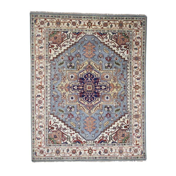 One-of-a-Kind Newcastle Serapi Tribal Oriental Hand-Knotted Blue Area Rug by Astoria Grand