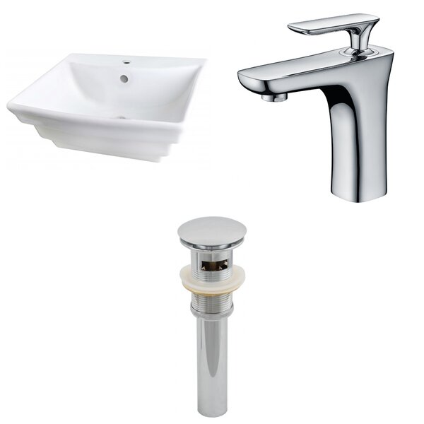 Ceramic 20 Wall Mount Bathroom Sink with Faucet and Overflow