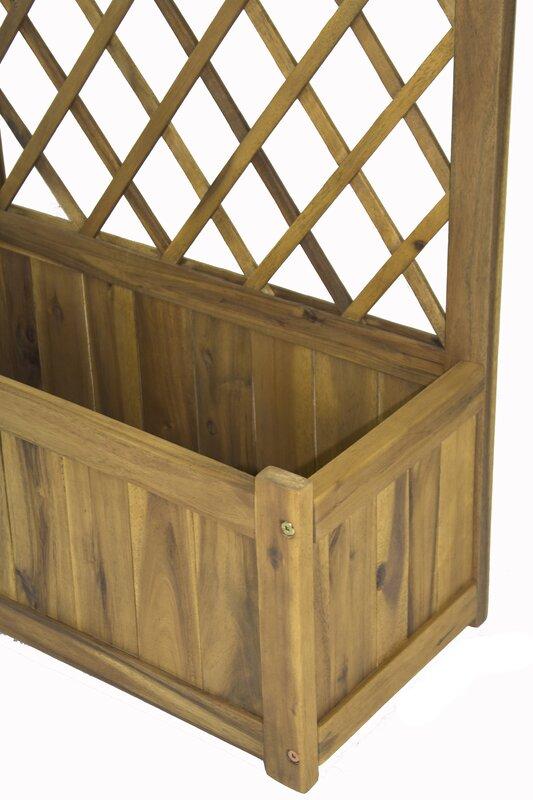 wisteria wood planter box with lattice panel trellis - Wood Planter Box